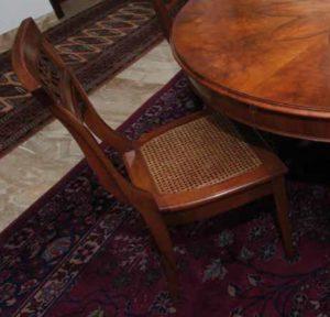 Walnut chair with straw